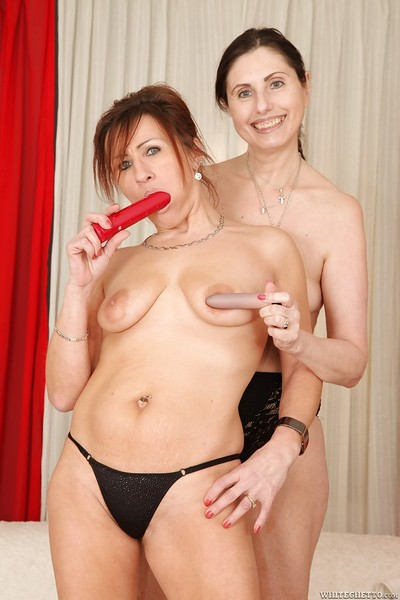 Lewd woman-on-woman grannies joyful always other with their favorite dildos