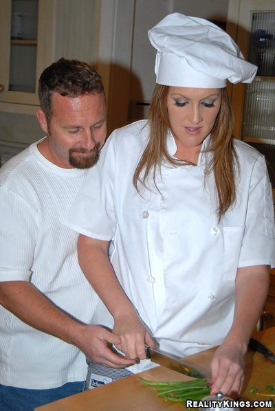 Rounded milf in cook's uniform goes from food to hardcore sexual act