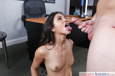 Curvy office cutie in ebon petticoat and  charming enormous facial ejaculation