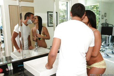 Untamed wife swingers Savannah Stern and Codi Bryant have fun enormous sticks