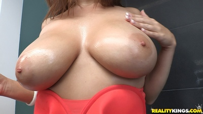 Fatty chicita with enormous tits Alex Chance erotic dancing off her clothing and sexy pants