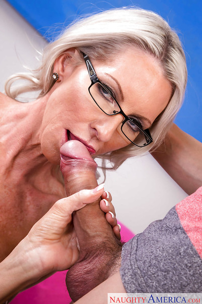Slender aged golden-haired dame Emma Starr takes spunk flow on bawdy cleft right after bj