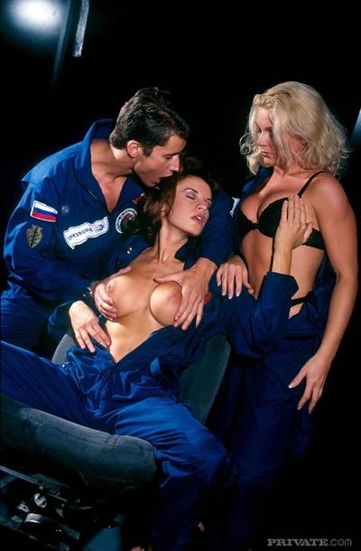 3 perspired princesses in extraordinary astronaut alien fuckfest in uranus