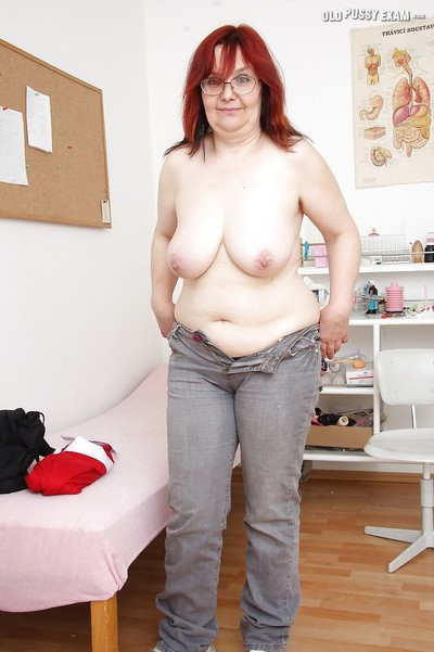 Hulking grown up with limp jugs erotic dancing in the gyno office