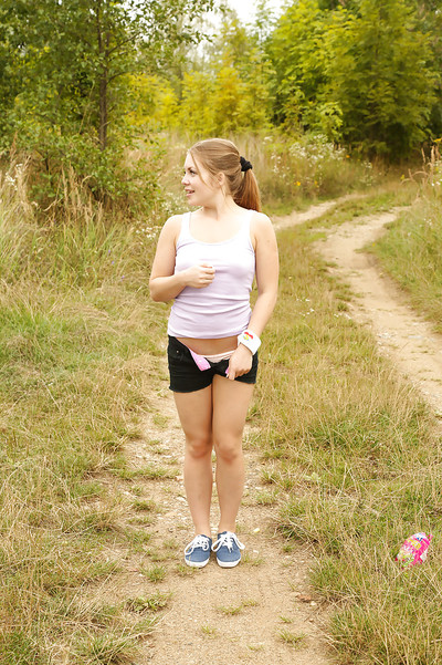 Amateur queen with compact wobblers Alessandra masturbates outdoor in woods