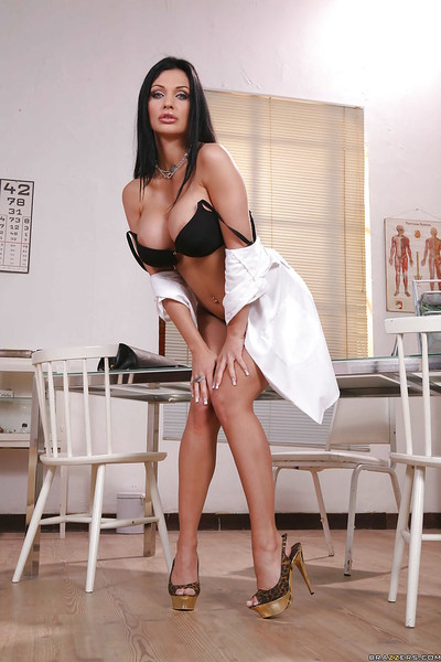 Boobsy doctor Aletta Ocean in uniform shows her flawless body