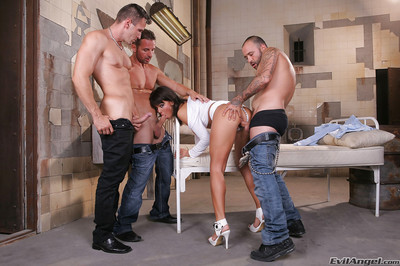 Sexually aroused young Melanie Memphis purchases blowbanged and dug by 3 studs