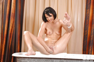 Smiley european queen voluptuous soapy shower-room and handballing her constricted bawdy cleft