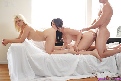 Magnificent harlots Anikka Albrite and Holly Michaels have a perspired two men plus one female