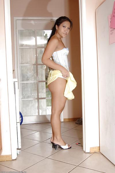 Solo Latin babe number 1 timer Christina flashing widen upksirt underclothing