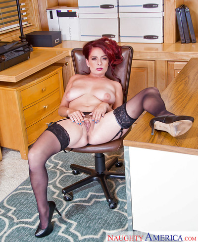 Redhead secretary Ashlee Graham erotic dancing off blouse and brassiere at plow up