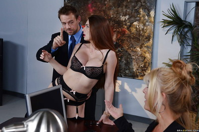 Dressed secretary Veronica Rain attains bare for boss behind office doors