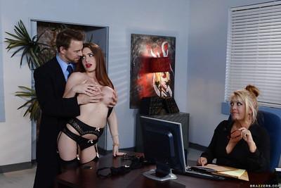 Dressed secretary Veronica Rain attains bare for boss behind office doors