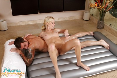 Oiled chicita with miniscule scoops Alania Raye shower-room with client and bangs