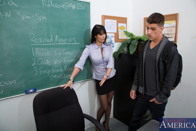 Eva Karera has damp copulation with one of her students with a gigantic cock.