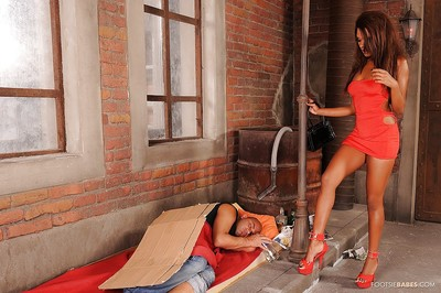 Nice-looking MILF with insignificant bumpers Keisha Kane accepts drilled and gives a footjob