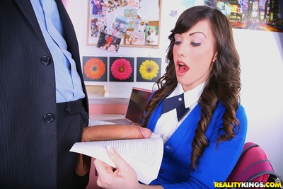 Boobsy infant in school uniform Jennifer White enjoys massive anal hammering