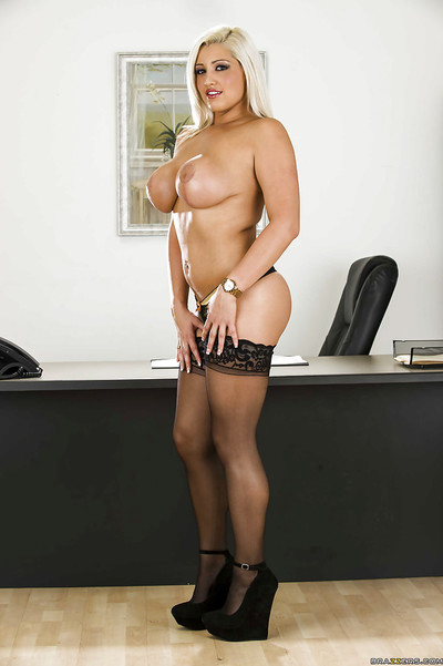 Busty office hotty Dayna Vendetta erotic dancing off her costume and underclothes