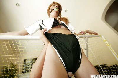 Amateur chicito Faye Regan benefits from united up and penetrated with a gag in her face hole