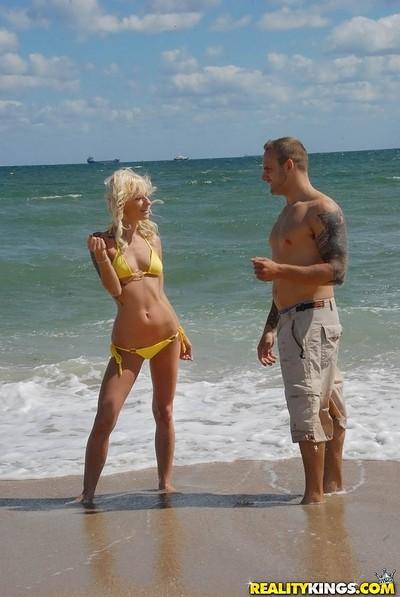 Perspired mini fairy-haired milf at the beach untamed body yellowe bikini