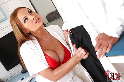 Gratifying nurse blows off twofold thick boners for goo on her penetrated tongue