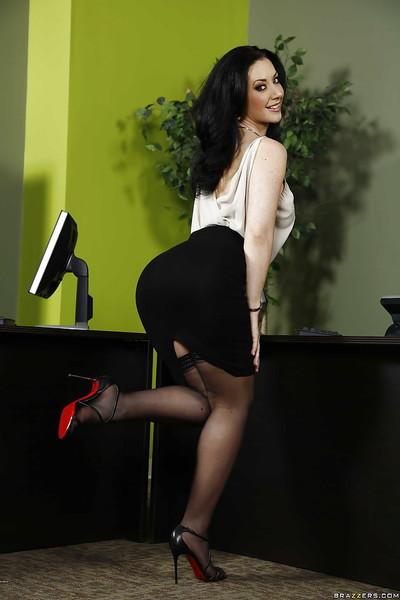 Gigantic boobs office lady Jayden Jaymes is undressing her unyielding ebony clothing