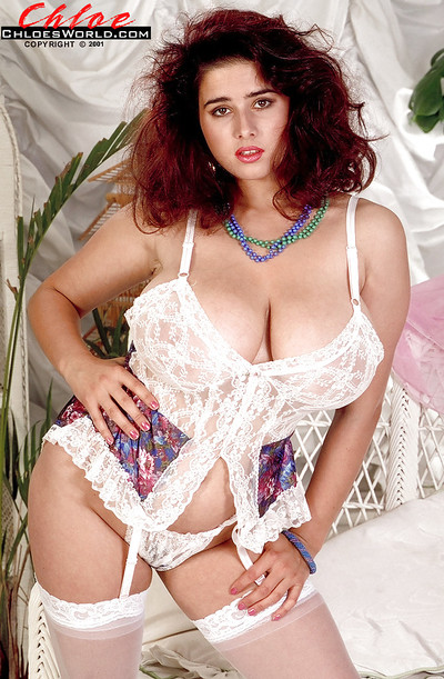 Redheaded French solo beauty Chloe Vevrier flaunting massive juggs in