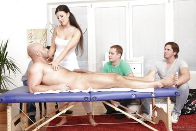 Appealing European cunt Billie Star getting banged by four jocks