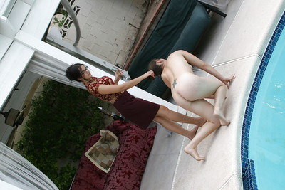 Foot obsession servants veneration hot legs of femdom mistresses by a pool