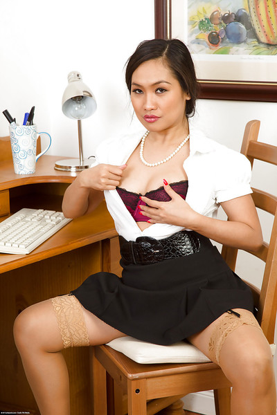 Slight youthful Oriental gal Amy Lalin girl pets her muff in office room