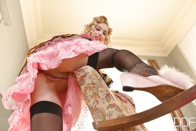 Clammy golden-haired Nesty pulls vintage underwear aside for close ups of pink cum-hole