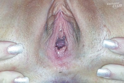 Unclothed lollipop exposing her inviting cum-hole in close up and chemical play
