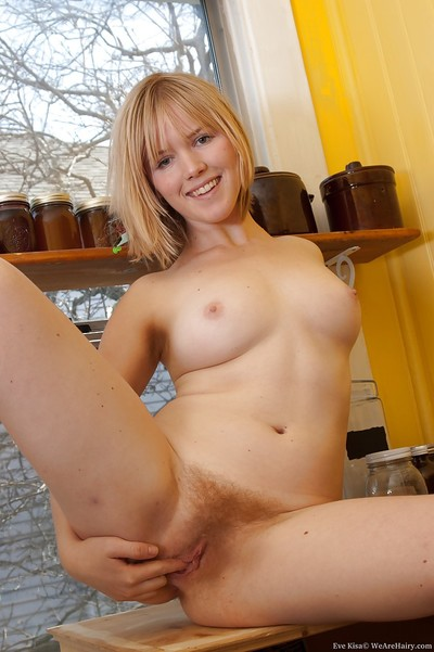 Blond infant model with ample waste Eve Kisa admirable off her sexy pants