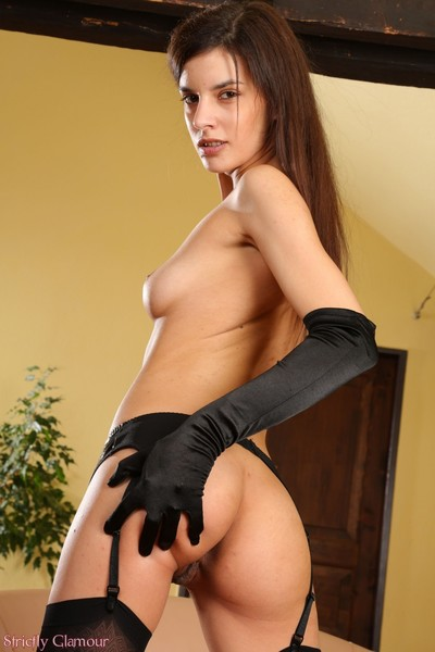 Leggy bitch goddess candice in latex corset and swarthy nylons