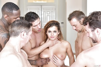 Wild juvenile hottie Keisha Grey getting group-bonked by huge ramrods