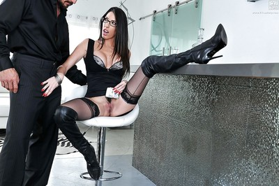 Breasty brown hair mother Dava Foxx jerking wang in high boots and glasses