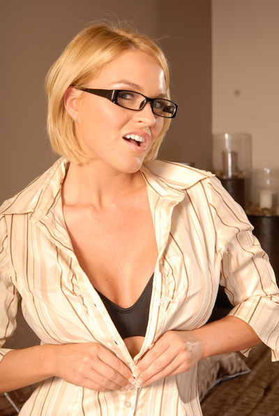 MILF angel with large billibongs in glasses Krissy Lynn teases her uterus