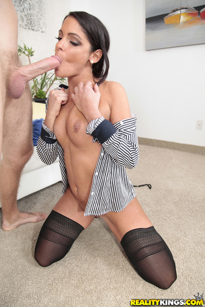 Extreme brunette hair MILF Michele licking egg sac and need phallus