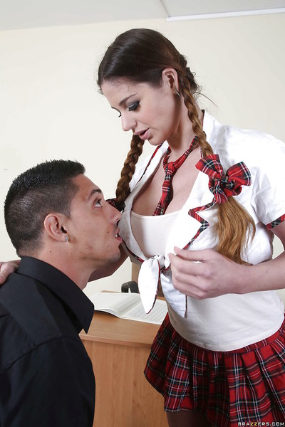 Schoolgirl with pigtails Cathy Heaven is nicely penetrated in the classroom