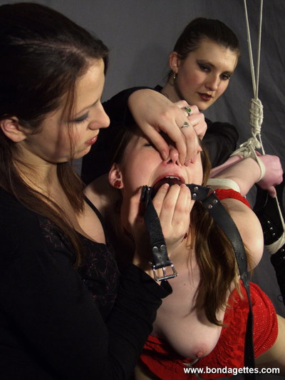 Fairy-haired slave egg gagged and united on one leg by her dual lez