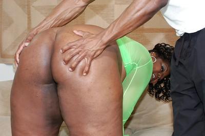 Ebon SSBBW vixen benefits from shagged and jizzed over her massive jugs