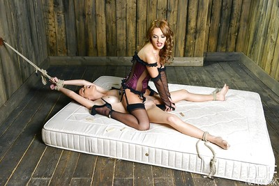 Spiteful girl-on-girl domination with fastened female captivating painful anal insertion
