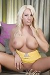 Heather Summers stripped off without her rigid extreme yellow suit and shows off her giant mambos and infiltrated pussy!