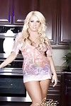 Stunning curvy blonde, Heather Summers, puts on a fucking extreme stripping in the kitchen peeling off her costume and underclothing and revealing her remarkable colossal breasts and spectacular slit to all!