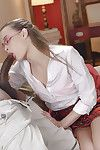 Glasses attired Kacey Lane giving BBC bj for interracial jizz flow in chop