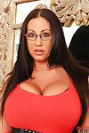 Colossal titted girl in glasses Emma Apple bottoms teases slit and plays with a apparatus