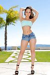 Vivacious cutie with perfect waste Remy LaCroix erotic dancing down outdoor
