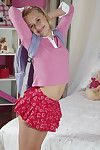 Pouting golden-haired doll does a litle petticoat lifting
