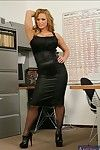 Delightful MILF in ebon nylons Shyla Stylez goes in nature\'s garb in the office