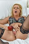 Shocking perspired milf with massive regular love bubbles masturbation scene